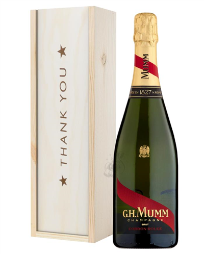 Mumm Cordon Rouge Champagne Thank You Gift In Wooden Box