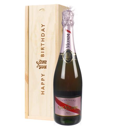 Mumm Rose Champagne Birthday Gift In Wooden Box