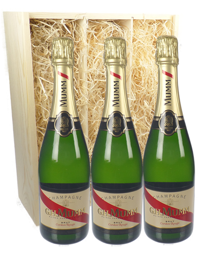 Mumm Three Bottle Champagne Gift in Wooden Box