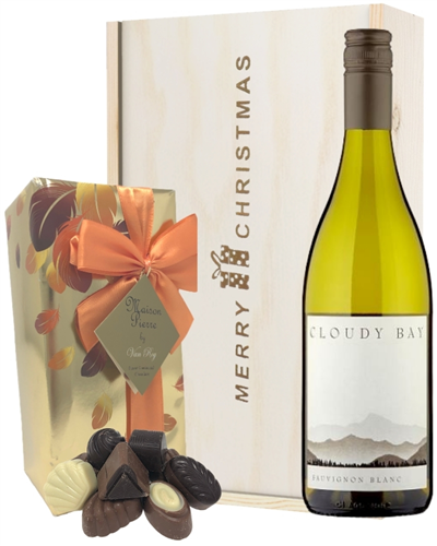 New Zealand Cloudy Bay Sauvignon Blanc Christmas Wine and Chocolate Gift Box