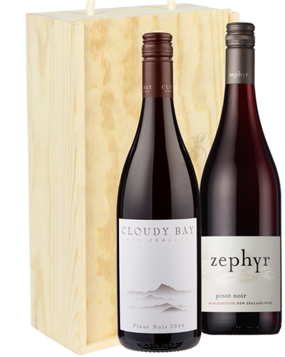 New Zealand Pinot Noir Mixed Two Bottle Wine Gift in Wooden Box