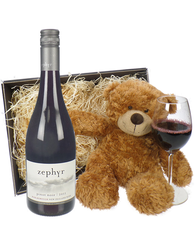 New Zealand Pinot Noir Red Wine and Teddy Bear Gift Basket