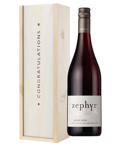 New Zealand Pinot Noir Red Wine Congratulations Gift In Wooden Box