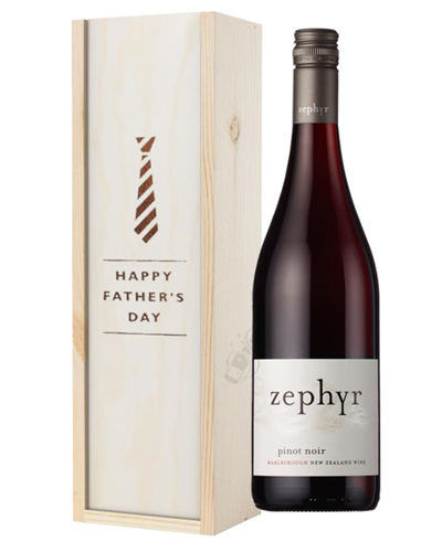 New Zealand Pinot Noir Red Wine Fathers Day Gift In Wooden Box