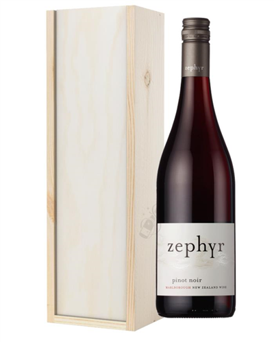 New Zealand Pinot Noir Red Wine Gift in Wooden Box
