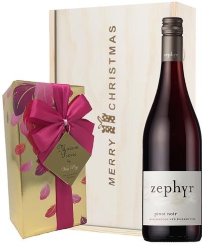 New Zealand Pinot Noir Red Wine Wine  Christmas Wine and Chocolate Gift Box