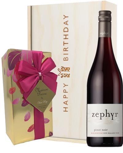 New Zealand Pinot Noir Red Wine Wine and Chocolate Birthday Gift Box