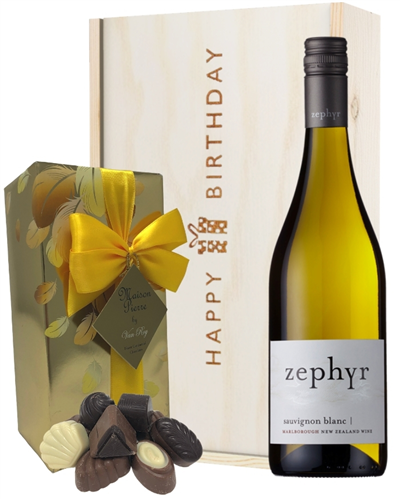 New Zealand Sauvignon Blanc White Wine and Chocolate Birthday Gift Box