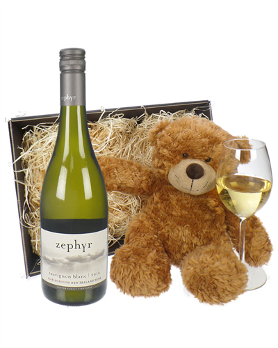 New Zealand Sauvignon Blanc White Wine and Teddy Bear Gift Basket