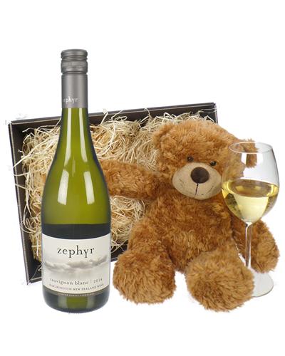 New Zealand Sauvignon Blanc White Wine and Teddy Bear Gift Basket