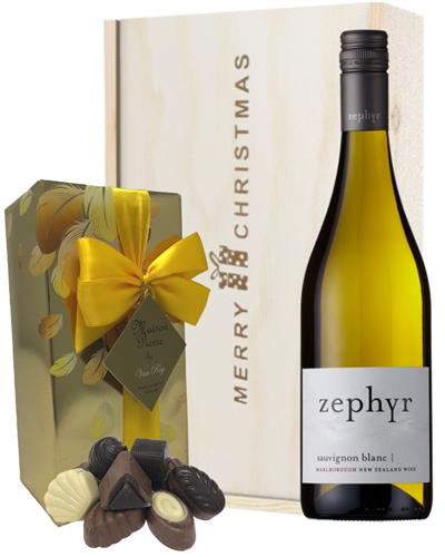 New Zealand Sauvignon Blanc White Wine Christmas Wine and Chocolate Gift Box