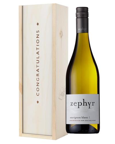 New Zealand Sauvignon Blanc White Wine Congratulations Gift In Wooden Box