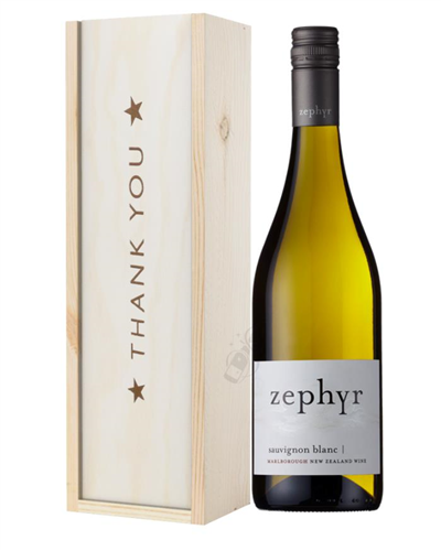 New Zealand Sauvignon Blanc White Wine Thank You Gift In Wooden Box