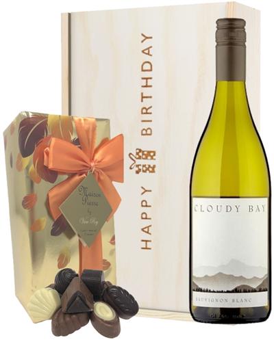 New Zealand Cloudy Bay Sauvignon Blanc Wine and Chocolate Birthday Gift Box
