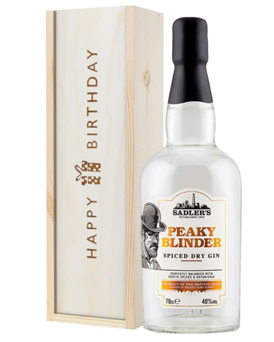 Peaky Blinder Spiced Dry Gin Birthday Gift In Wooden Box