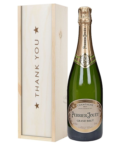 Perrier Jouet Champagne Thank You Gift In Wooden Box