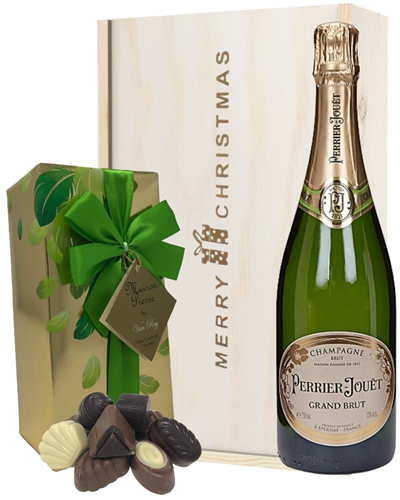 Perrier Jouet Christmas Champagne and Chocolates Gift Box