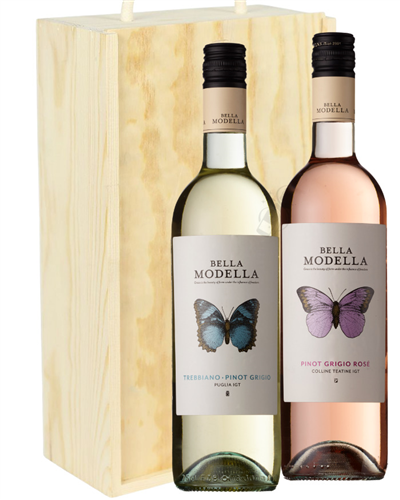 Pinot Grigio Mixed Two Bottle Wine Gift in Wooden Box