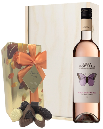 Pinot Grigio Rose Wine and Chocolates Gift Set in Wooden Box