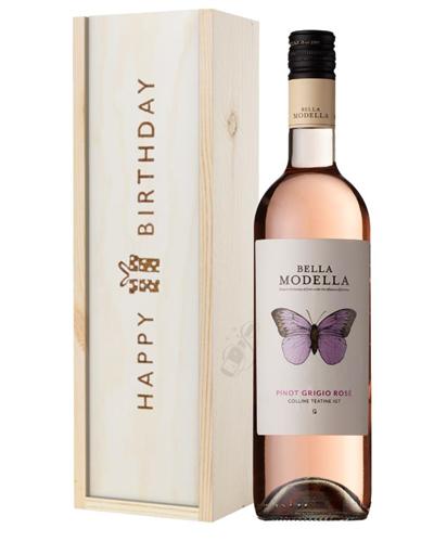 Pinot Grigio Rose Wine Birthday Gift In Wooden Box