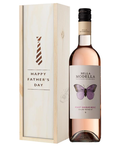 Pinot Grigio Rose Wine Fathers Day Gift In Wooden Box