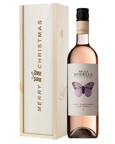 Pinot Grigio Rose Wine Single Bottle Christmas Gift In Wooden Box