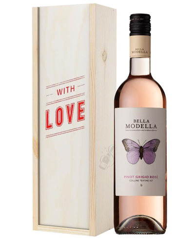 Pinot Grigio Rose Wine Valentines With Love Special Gift Box