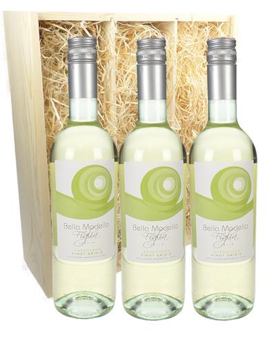 Pinot Grigio Three Bottle Wine Gift in Wooden Box