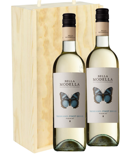 Pinot Grigio Two Bottle Wine Gift in Wooden Box