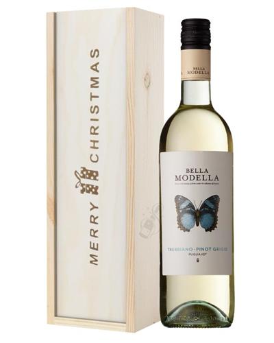 Pinot Grigio White Wine Single Bottle Christmas Gift In Wooden Box