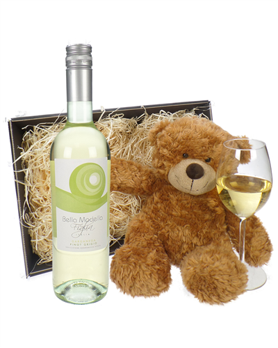 Pinot Grigio Wine and Teddy Bear Gift Basket