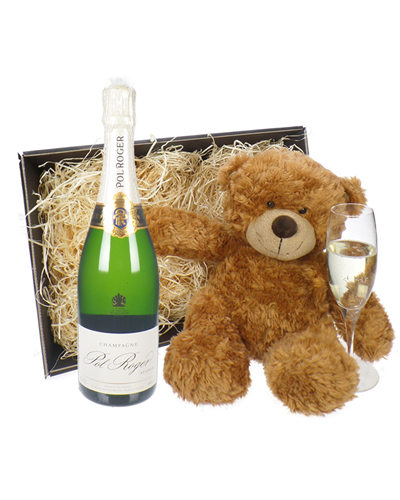 Pol Roger Champagne and Teddy Bear Gift Basket