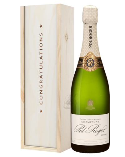 Pol Roger Champagne Congratulations Gift In Wooden Box