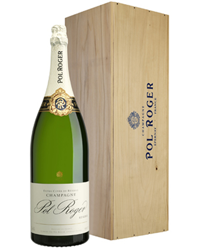 Pol Roger Champagne Jeroboam 300cl in Wooden Gift box