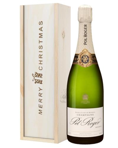 Pol Roger Champagne Single Bottle Christmas Gift In Wooden Box