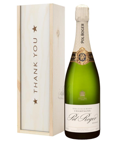 Pol Roger Champagne Thank You Gift In Wooden Box