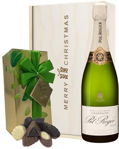 Pol Roger Christmas Champagne and Chocolates Gift Box