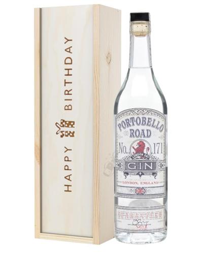 Portobello Road Gin Birthday Gift In Wooden Box
