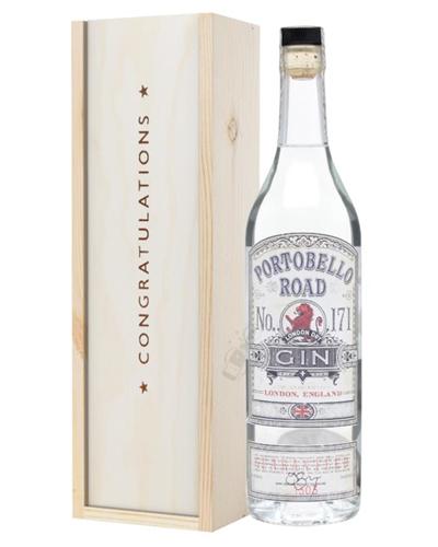 Portobello Road Gin Congratulations Gift In Wooden Box