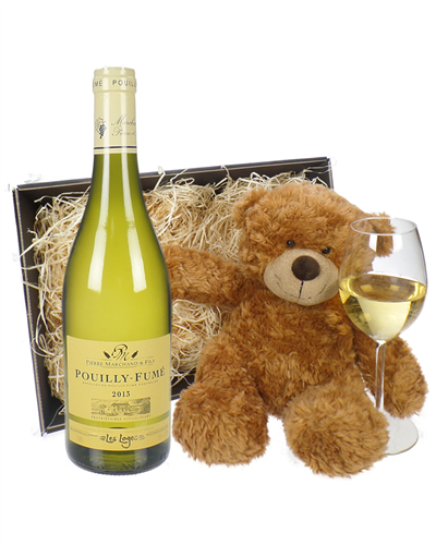Pouilly Fume White Wine and Teddy Bear Gift Basket