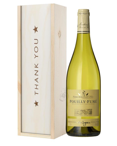 Pouilly Fume White Wine Thank You Gift In Wooden Box