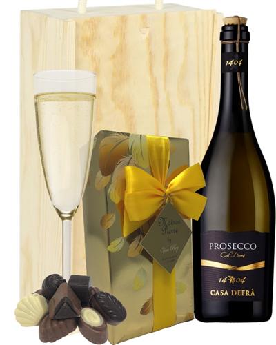 Prosecco & Chocolates Gift In Wooden Box (Frizzante)