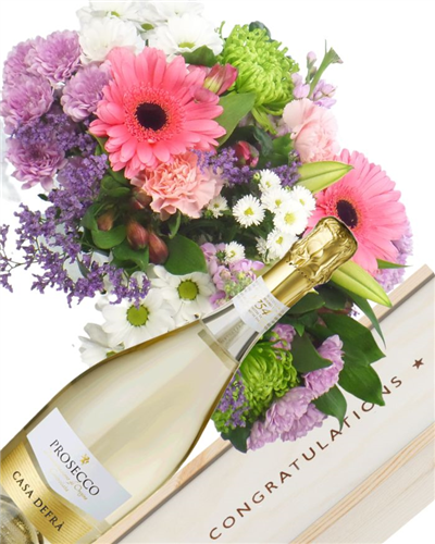 Prosecco And Flowers Congratulations Gift