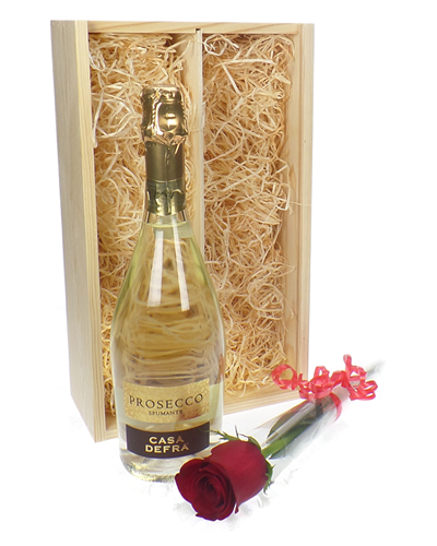 Prosecco And Red Rose Gift