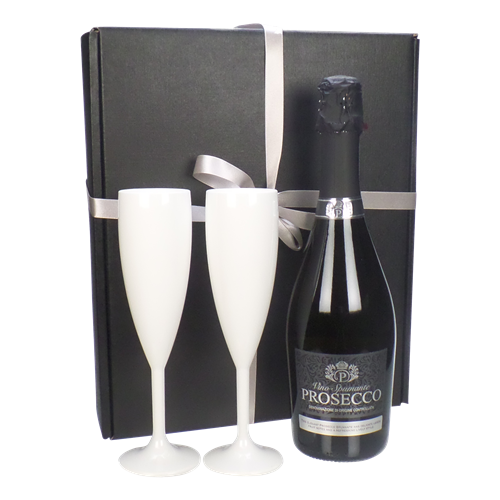 Prosecco And White Flutes Gift Box
