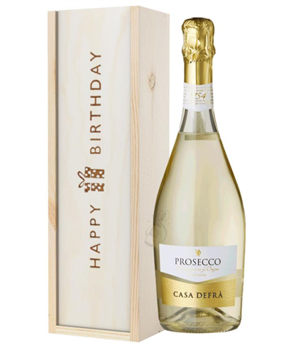 Prosecco Spumante Birthday Gift In Wooden Box