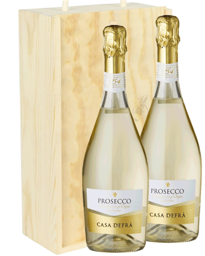 Prosecco Two Bottle Wine Gift in Wooden Box