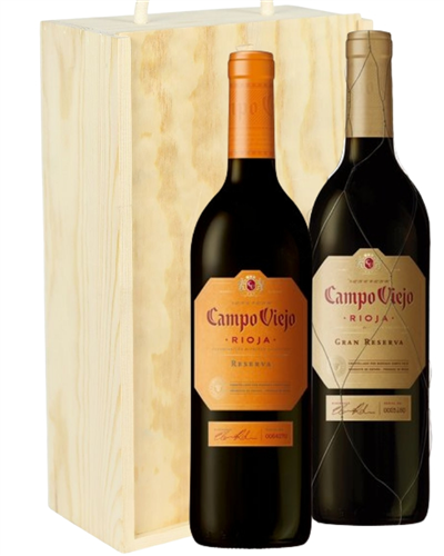 Rioja Reserva Two Bottle Wine Gift in Wooden Box