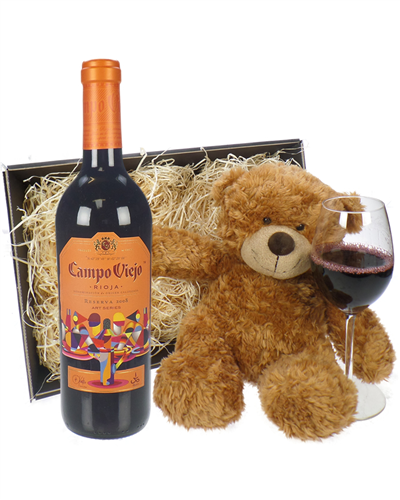 Rioja Reserva Wine and Teddy Bear Gift Basket