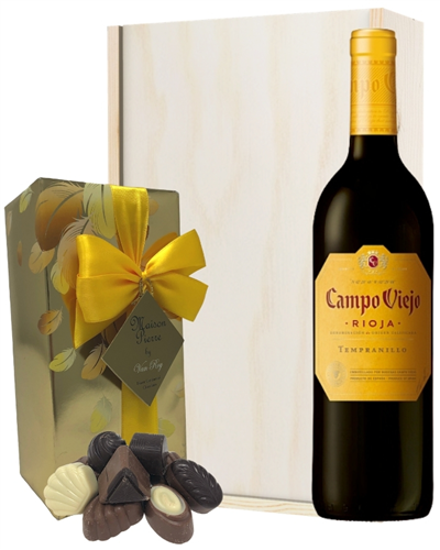 Rioja Tempranillo Red Wine and Chocolates Gift Set in Wooden Box